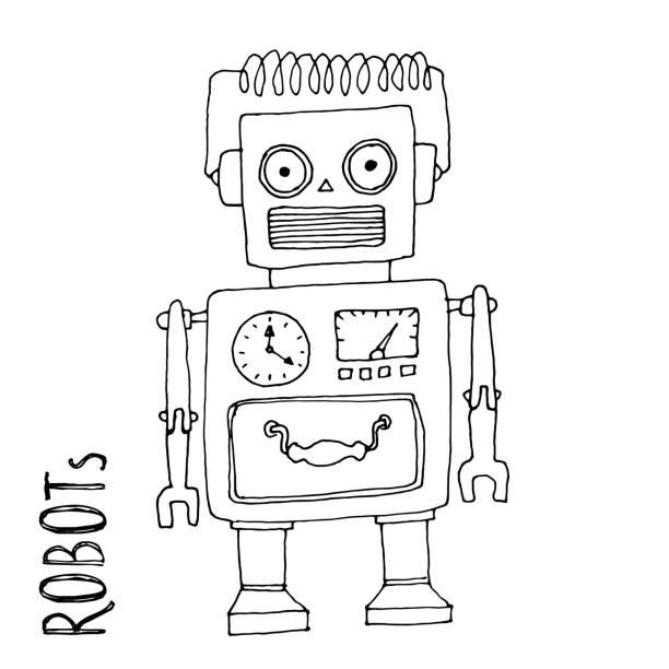Vectores de Robots De Historieta Grupo Libro Para Colorear e ...