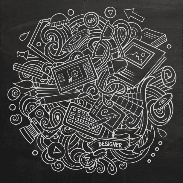 Cartoon Vektor Doodles Kunst und Design Illustration – Vektorgrafik