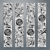 Cartoon cute cline art vector hand drawn doodles Bathroom vertical banners design. Templates set