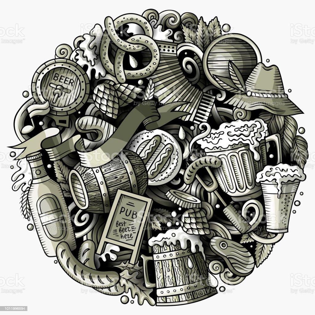 Cartoon-Vektor Kritzeleien Bier Fest Abbildung – Vektorgrafik