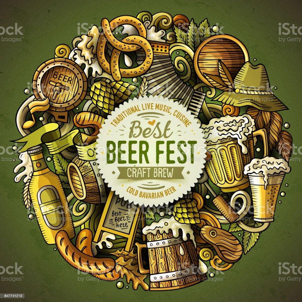 Cartoon vector doodles Beer fest illustration vector art illustration
