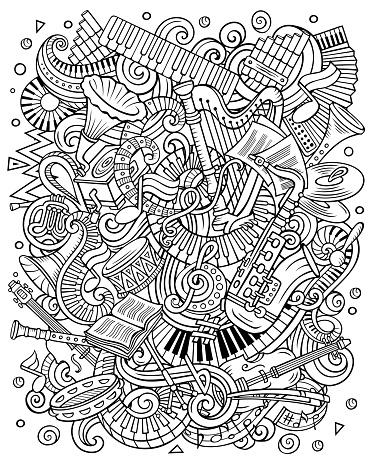 Cartoon vector doodles Classic music contour illustration