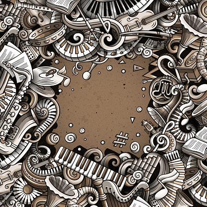 Cartoon vector doodles Classic music frame