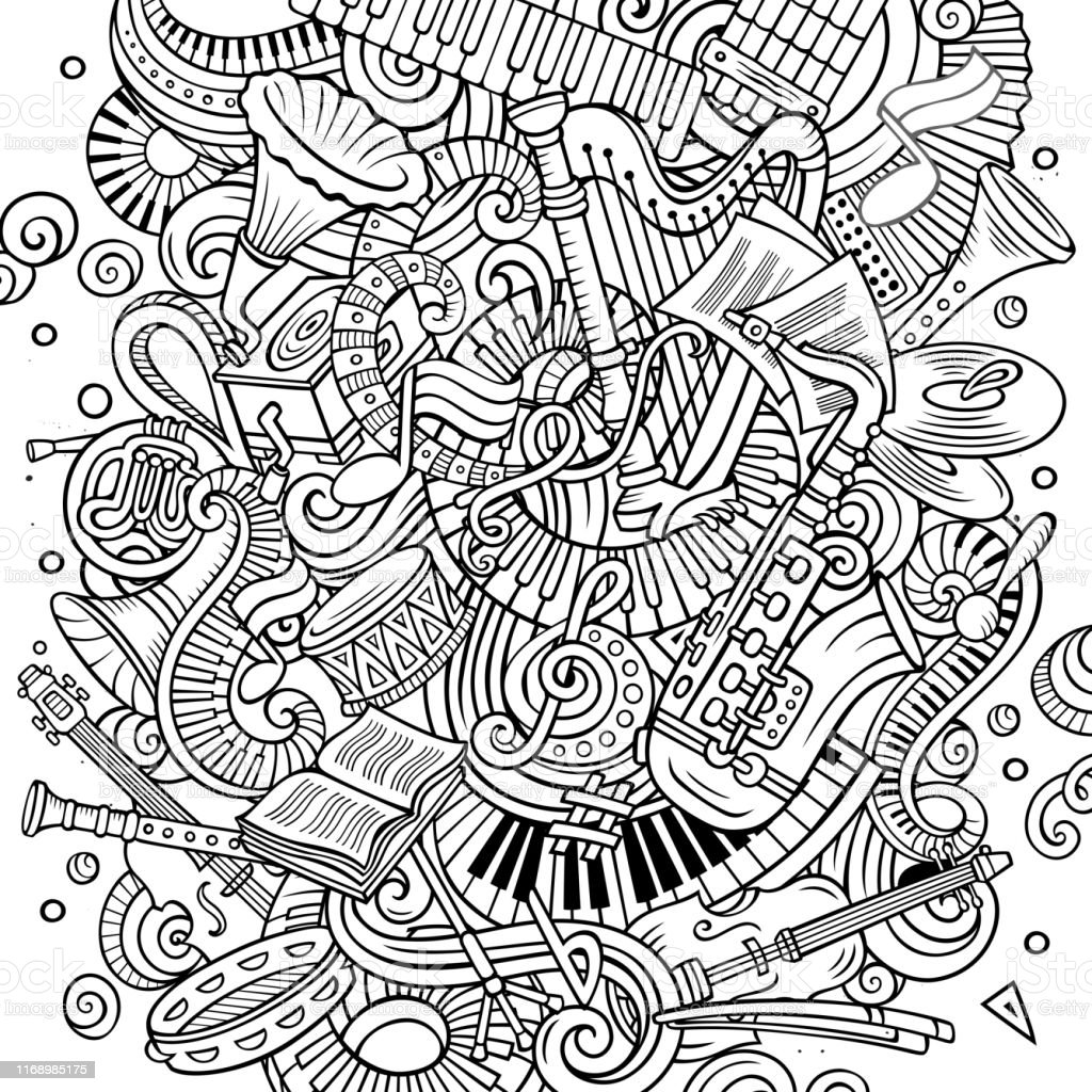 Cartoon vector doodles Classic music illustration. Line art,...