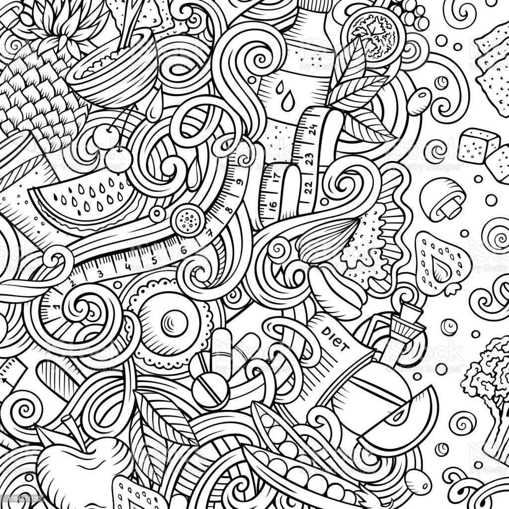 Cartoon vector doodles diet food frame. Line art, detailed, with lots...