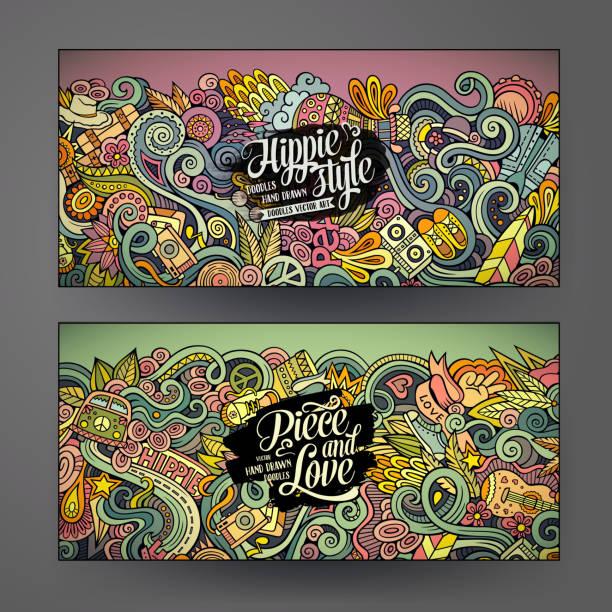 Cartoon vector doodles hippie banners vector art illustration