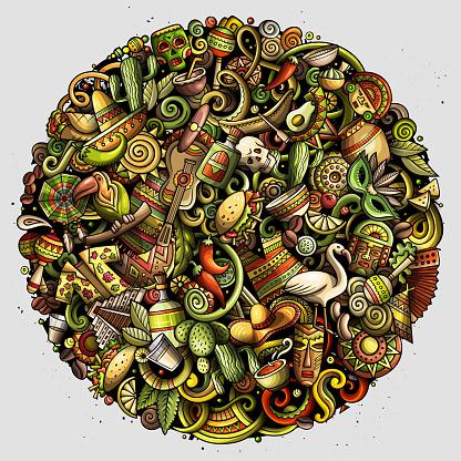 Cartoon vector doodles Latin America illustration
