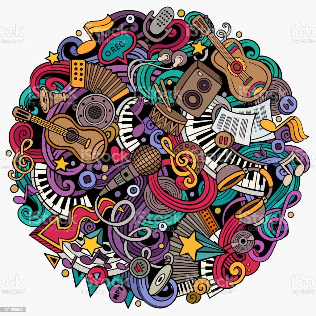 Cartoon vector doodles Music illustration vector art illustration