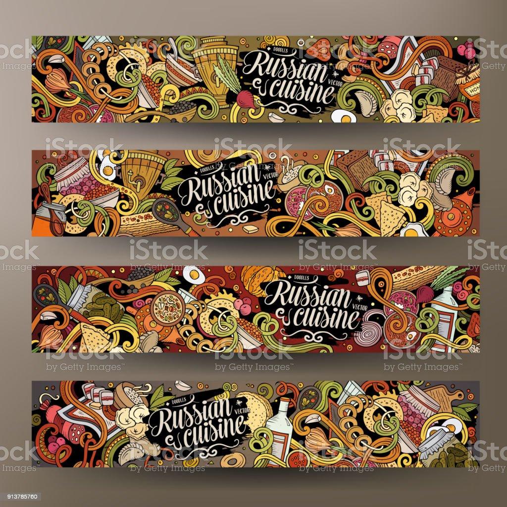 Cartoonvektor Kritzeleien Russische Küche 2 Horizontale Banner Stock ...