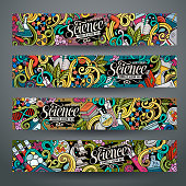 Cartoon vector doodles science banners