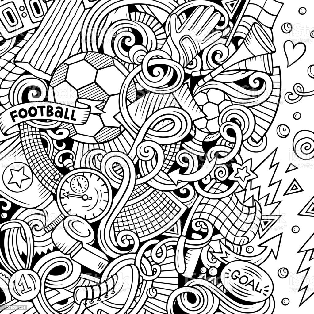 Cartoon vector doodles Soccer frame. Line art, detailed, with lots of...