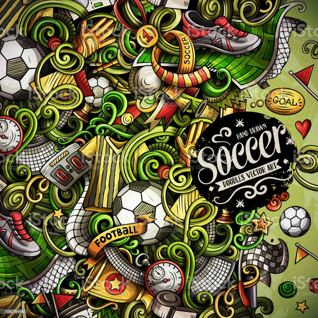Cartoon vector doodles Soccer frame. Colorful, detailed, with lots of...