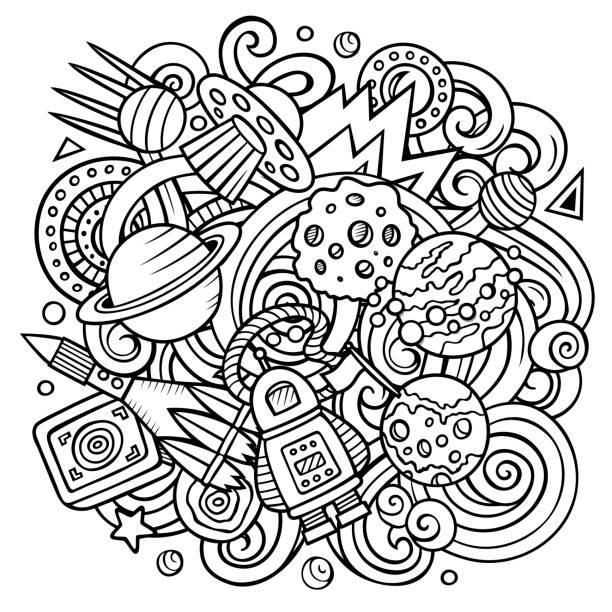 Cartoon Vektor Doodles Raum Illustration – Vektorgrafik