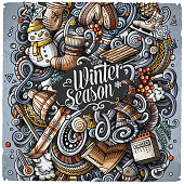 Cartoon vector doodles Winter illustration. Colorful, detailed, with lots of objects background. All objects separate. Bright colors cold season funny picture