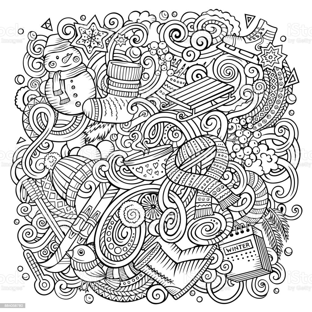 Cartoon vector doodles Winter illustration