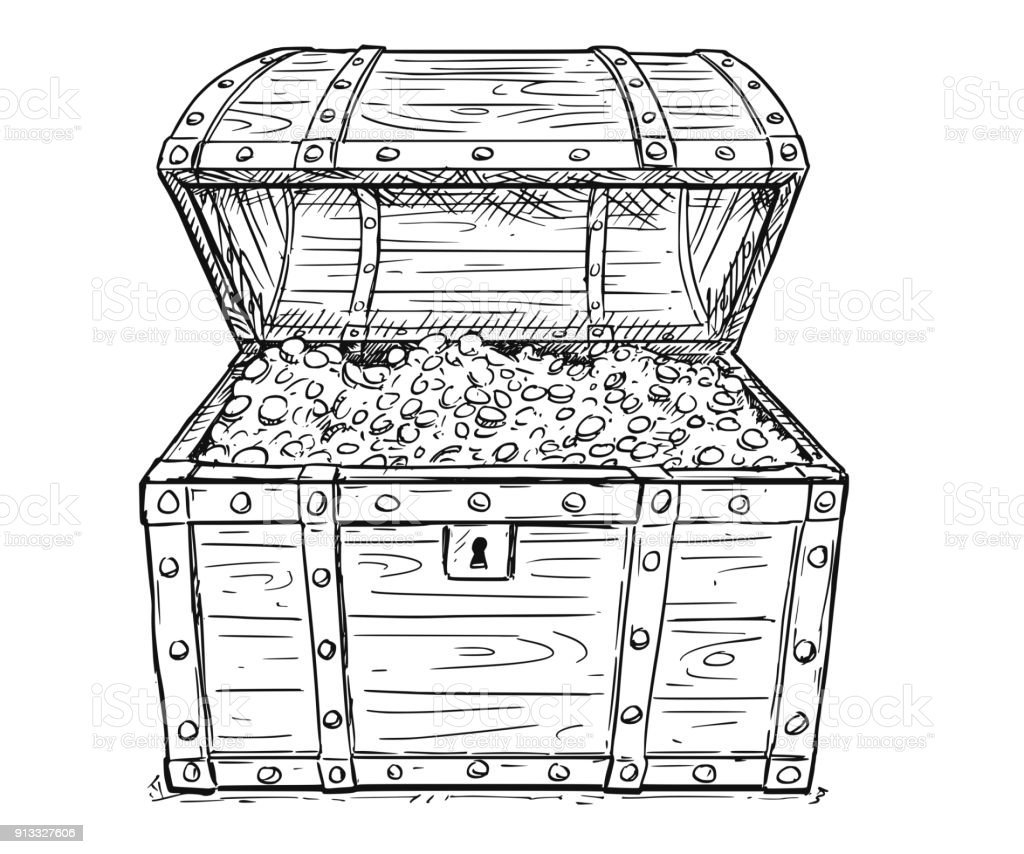 Cartoon Vector Drawing Of Old Open Pirate Treasure Chest ...