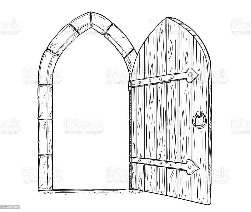 Cartoon Vector Drawing Of Open Wooden Medieval Decision