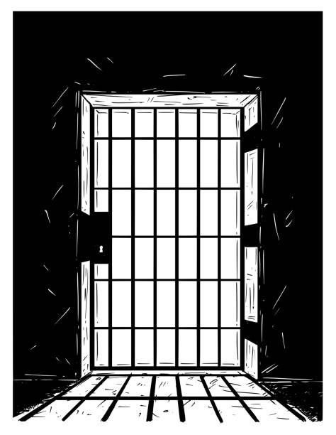 illustrations, cliparts, dessins animés et icônes de cartoon dessin vectoriel de prison porte ombre - prison