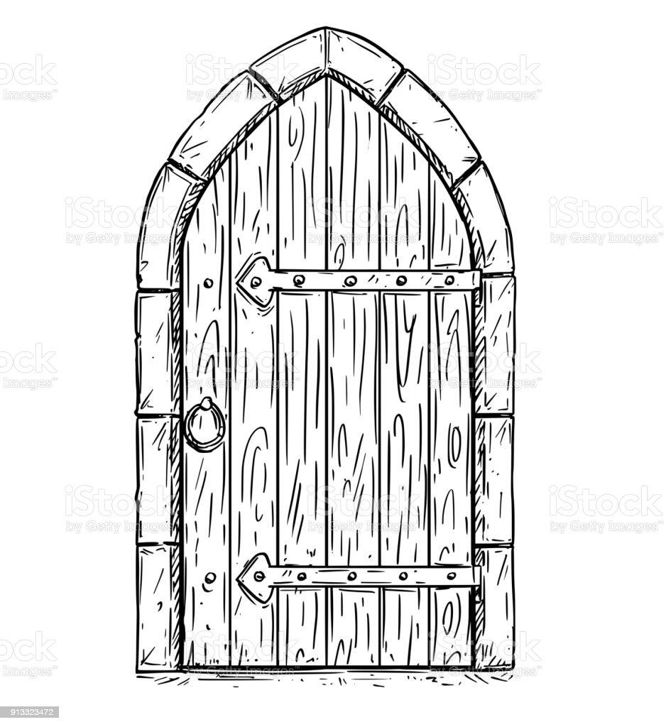 Vecteur de dessin anim dessin de bois m di vales de porte for Porte ouverte dessin
