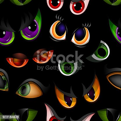 istock Cartoon vector eyes beast devil monster animals eyeballs of angry or scary expressions evil eyebrow and eyelashes on face scared snake or dracula vampire animal eyesight seamless pattern background 923184678
