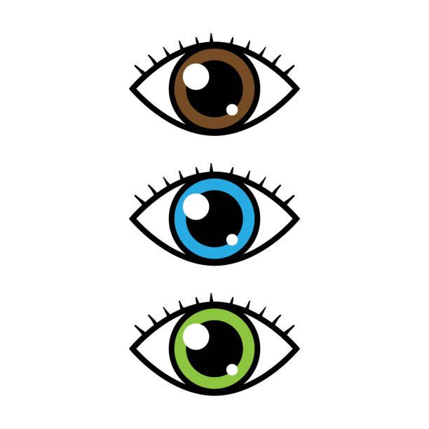 cartoon vector eyes - глазное яблоко stock illustrations