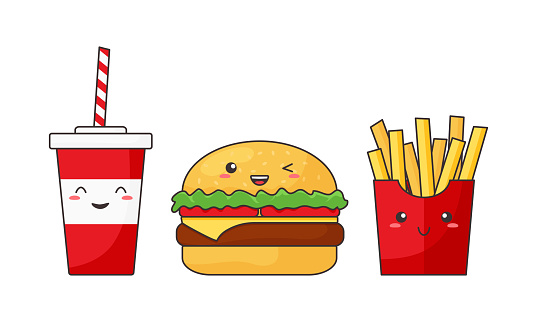 Cartoon vector fast food kawaii, funny cheeseburger, cola and french fries, cute character, happy caricature. American breakfast menu. Delicious illustration
