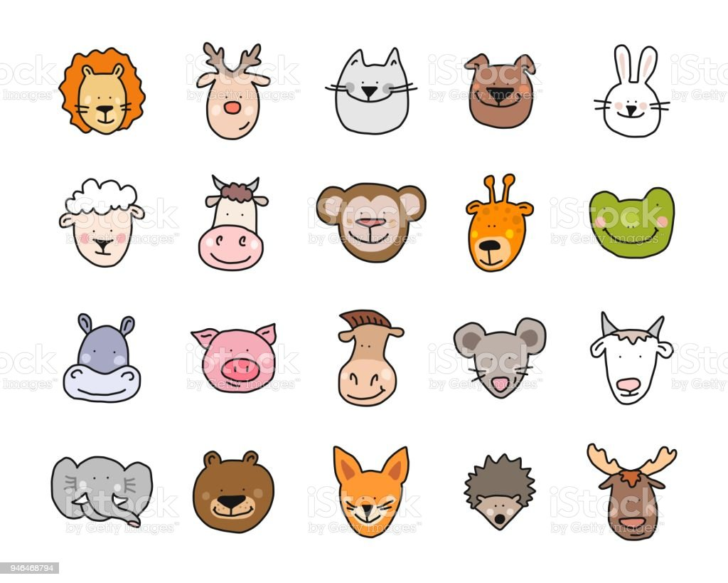 cartoon vector flat illustration of cute animals faces for baby card