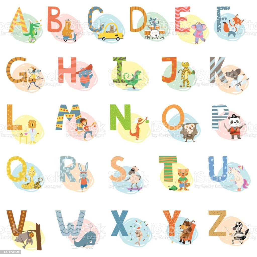 Cartoon vector hand drawn animals English language alphabet letters vector art illustration