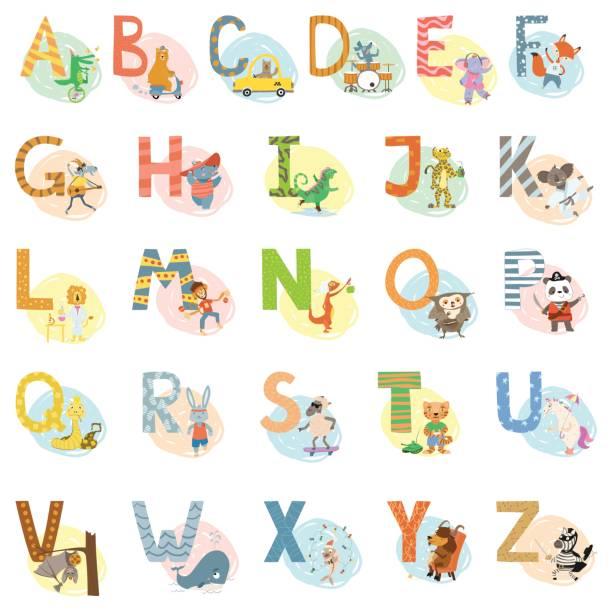 Cartoon Vector Hand gezeichnete Tiere englische Alphabet Buchstaben – Vektorgrafik