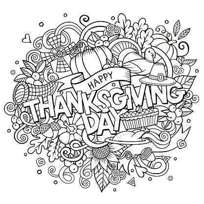 Cartoon vector hand drawn Doodle Thanksgiving illustration