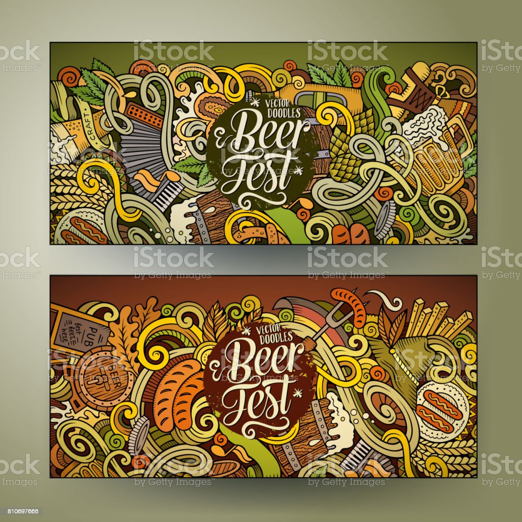 Cartoon vector hand drawn doodles Octoberfest corporate identity