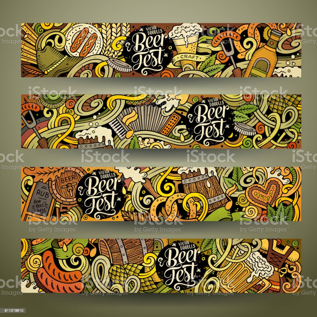 Cartoon vector hand drawn doodles Octoberfest corporate identity vector art illustration