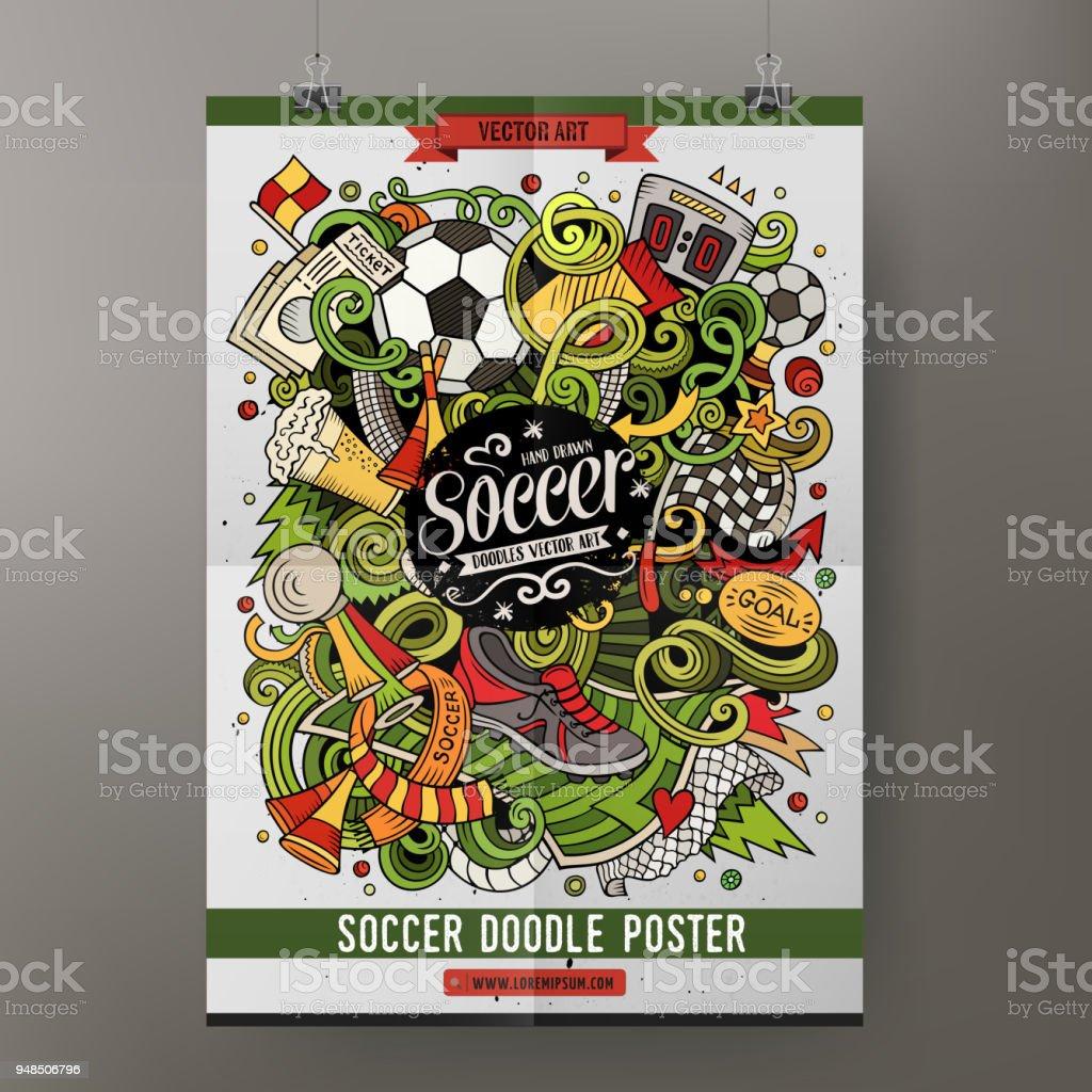 Cartoon-Vektor handgezeichnete Kritzeleien Fußball Plakat Vorlage – Vektorgrafik