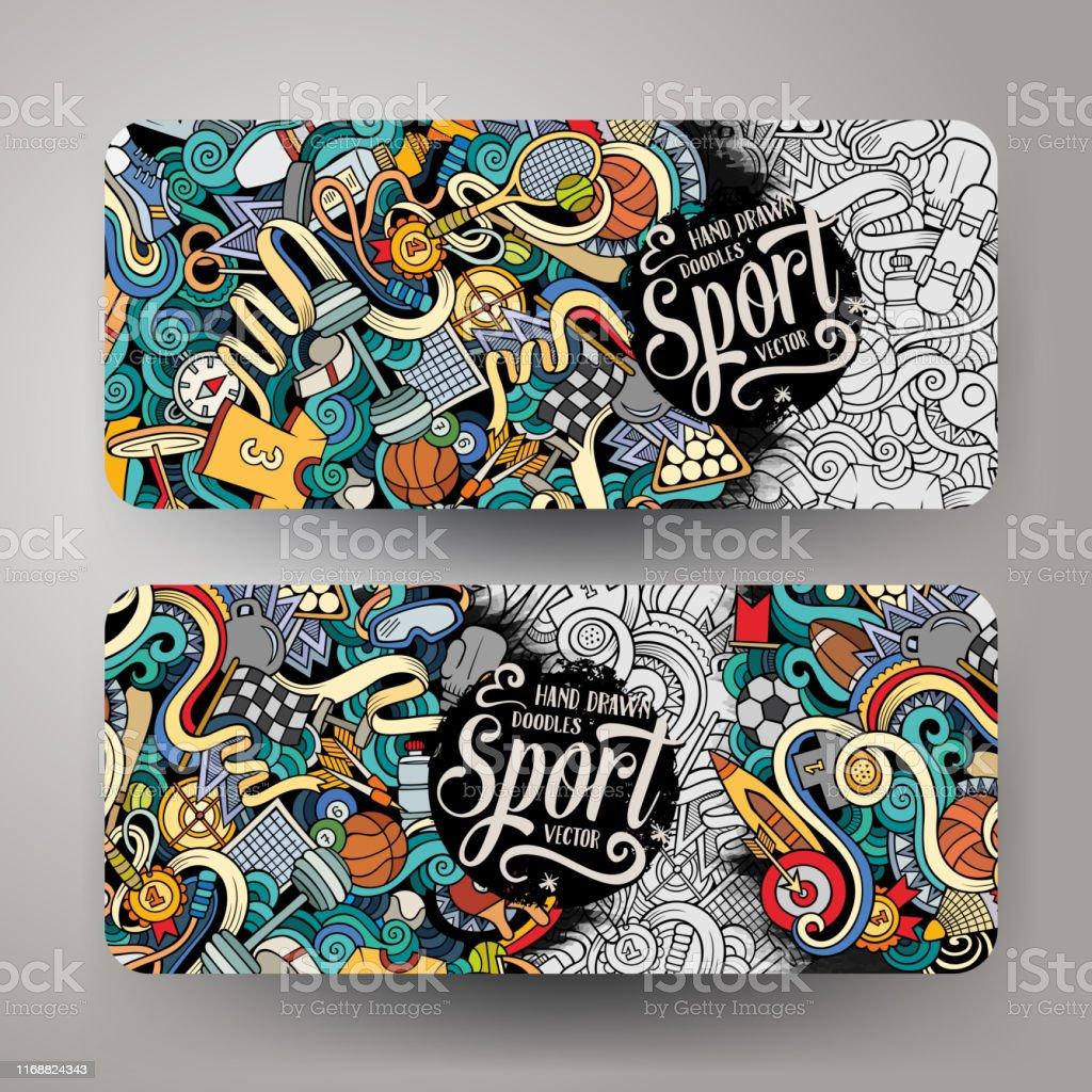 Cartoon cute colorful vector hand drawn doodles Sport corporate...
