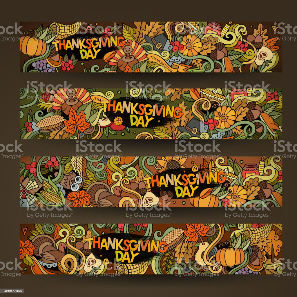 Cartoon vector hand-drawn Doodle on the subject of Thanksgiving. vector art illustration