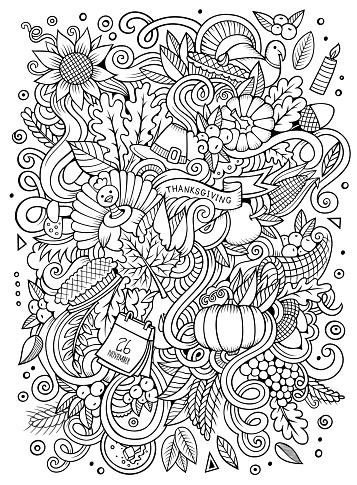 Cartoon vector hand-drawn Doodle Thanksgiving. Sketchy design
