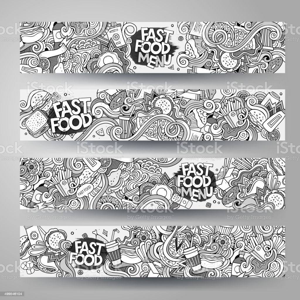Cartoon Vector Handdrawn Sketchy Doodle Fast Food Banners Design ...