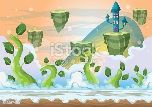 Cartoon vector heaven landscape with separated layers for game and animation, game design asset