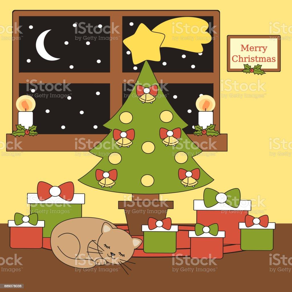 Fotos De Arboles De Navidad En Dibujos.Ilustracion De Interior Casa De Dibujos Animados Vector Con