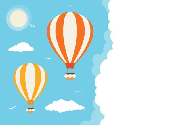 Cartoon Vector Hot Air Balloons Hot air balloons flying in the clouds hot air balloon stock illustrations