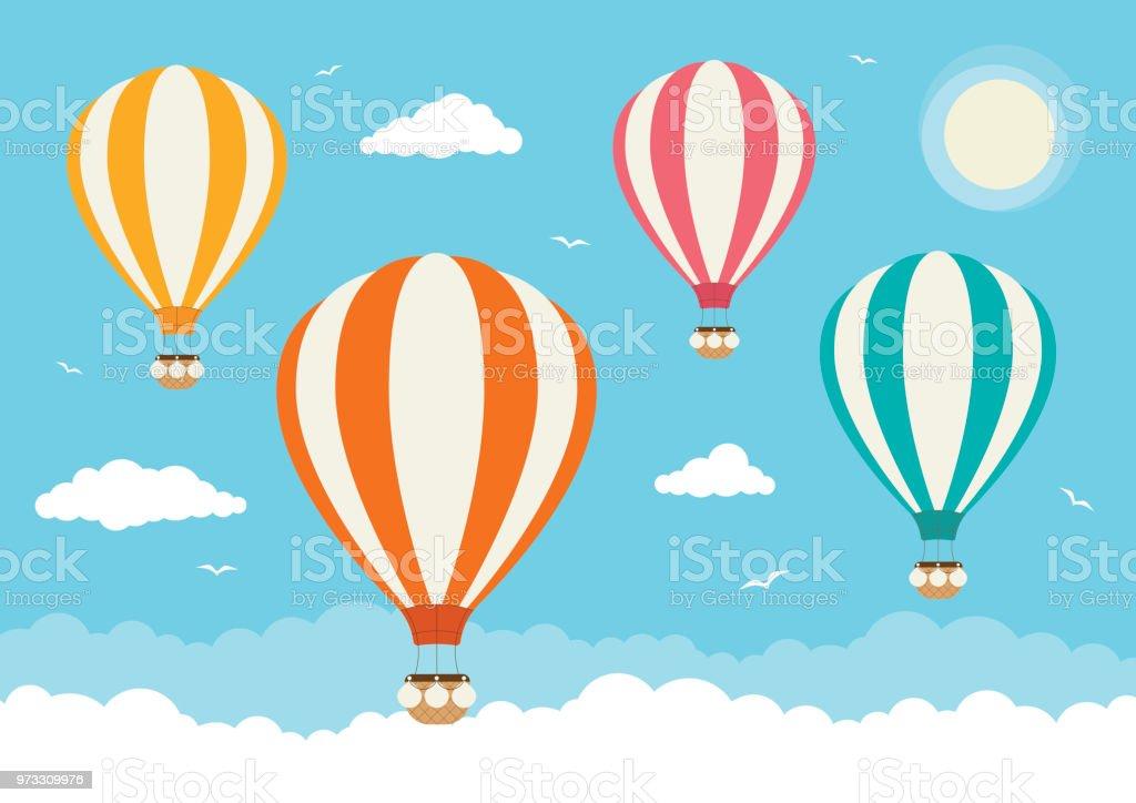 Balões de ar quente de vetor de desenhos animados - ilustração de arte em vetor