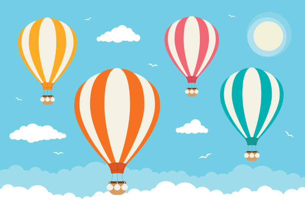 Cartoon Vector Hot Air Balloons Hot air balloons flying above the clouds hot air balloon stock illustrations