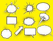 Comic book speech bubbles.