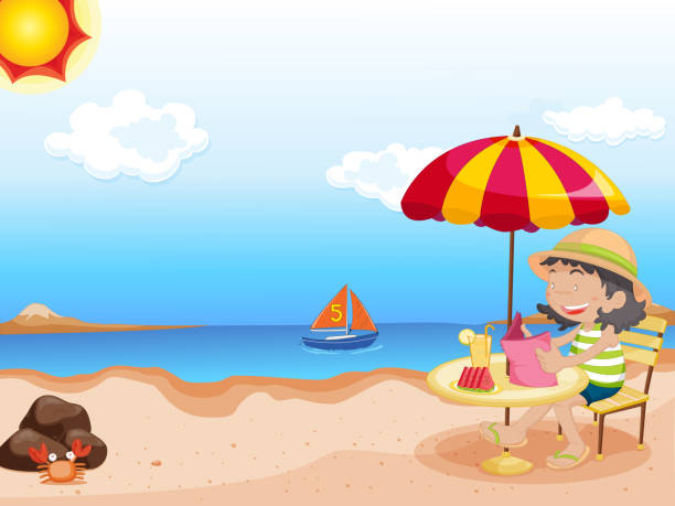 stockillustraties, clipart, cartoons en iconen met cartoon - newspaper beach