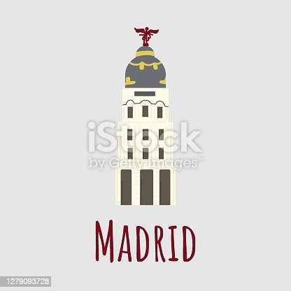 istock Cartoon vector illstration of Building Edificio Metropolis isolated on grey background 1279093728