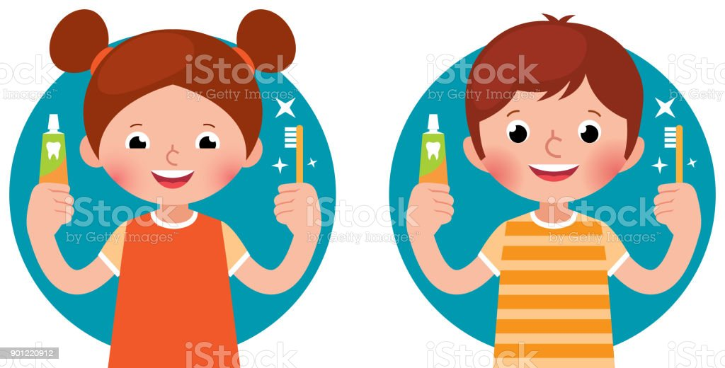 Cartoon vector illustration children girl and boy holding in his hand a toothpaste and a toothbrush vector art illustration