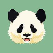 Cartoon vector illustration. Cute smiling giant panda face. Black and white asian bear. Print, mask, poster design.