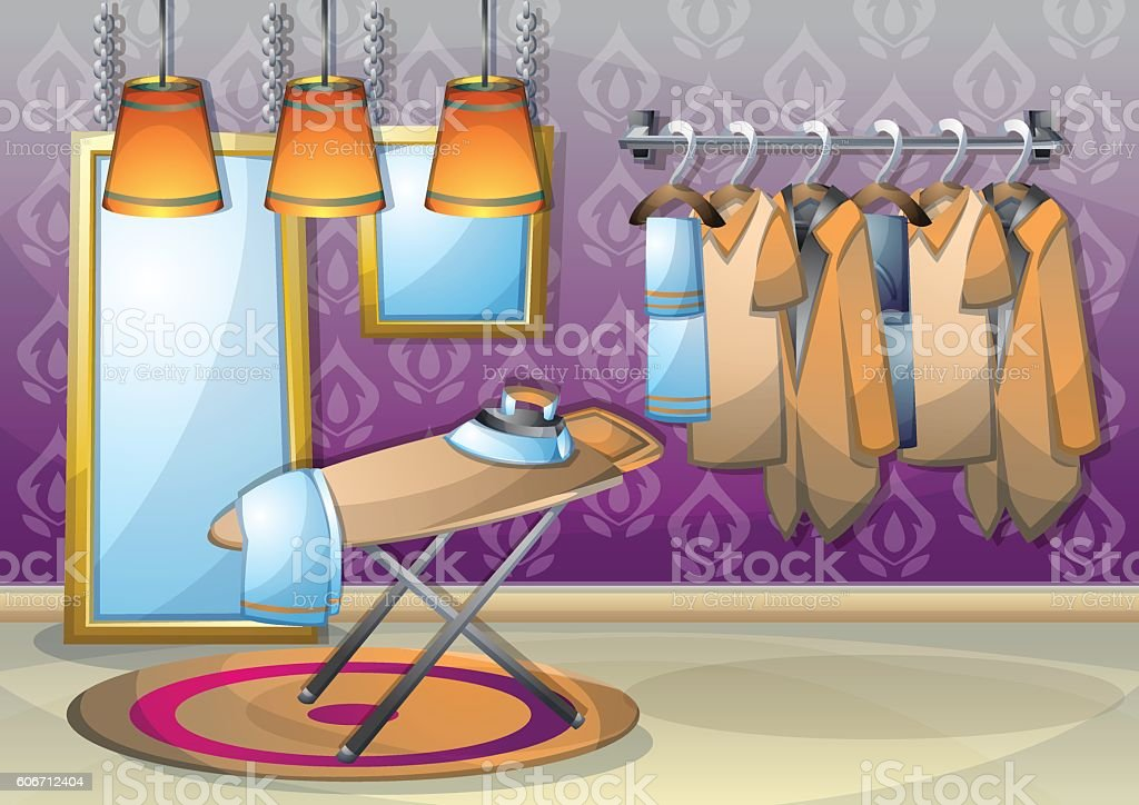 cartoon vector illustration interior clothing room with separated layers vector art illustration