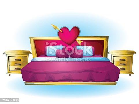 cartoon vector illustration interior Heart bed object