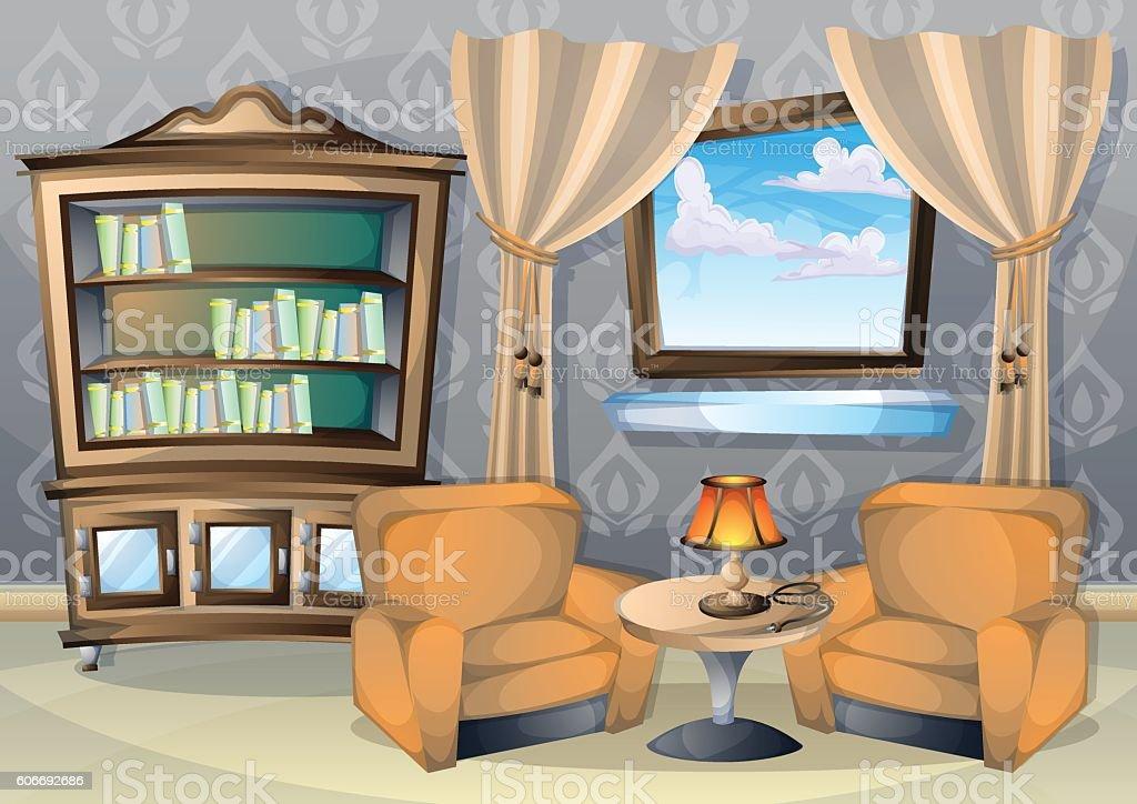 Cartoon Room: Cartoon Vector Illustration Interior Living Room Stock